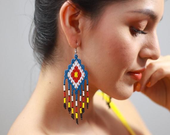 Indigenous Beaded Earrings, Handmade Boho Beaded Earrings, Ojo de Dios Earrings, Native American Beaded Earrings, Boho Chic, Jewelry