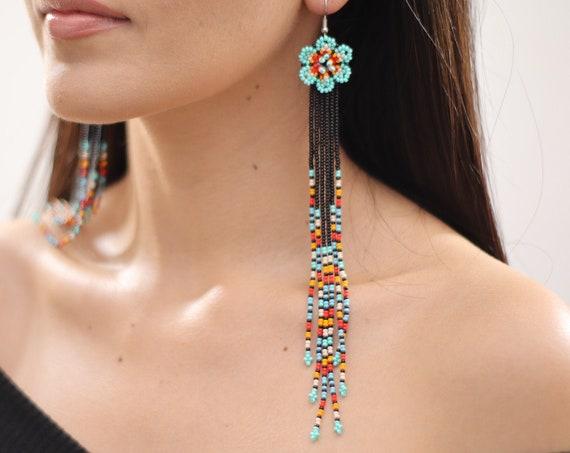 Long Boho Beaded Earrings, Shoulder Dusters, Native American Beaded Earrings, Handmade, Chandelier Earrings, Blue | Biulu Artisan Boutique