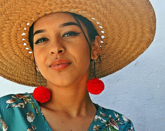 Red Boho Pom Pom Earrings, Sassy Statement Earrings, Pompom Dangle Earrings, Boho Chic, Pom Earrings, Handmade | Biulu Artisan Boutique