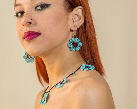 Indigenous Made Jewelry, Beaded Boho Necklace, Earrings, Blue Flower Necklace, Beaded Earrings, Native American Beaded Necklace, Handmade