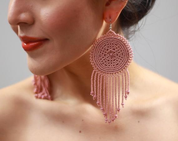 Statement Boho Earrings, Pink, Long Dangle, Native American Beaded Earrings, Hippie Tribal, Faux Leather Back, Handmade, Beautiful Rustic