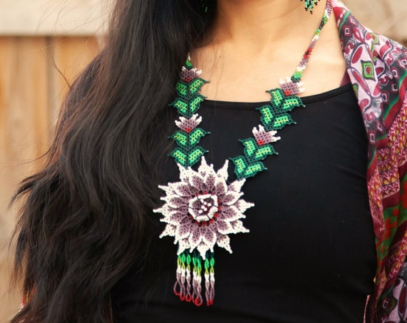 Boho Flower Necklace, Native American Beaded Necklace, Huichol Jewelry, Statement Necklace, Handmade | Biulu Artisan Boutique