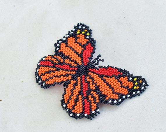 Butterfly Hairclip, Handmade Beaded Barrette, Boho, Native American Jewelry, Indigenous Made, Boho Hair Accessories, Hair Barrette