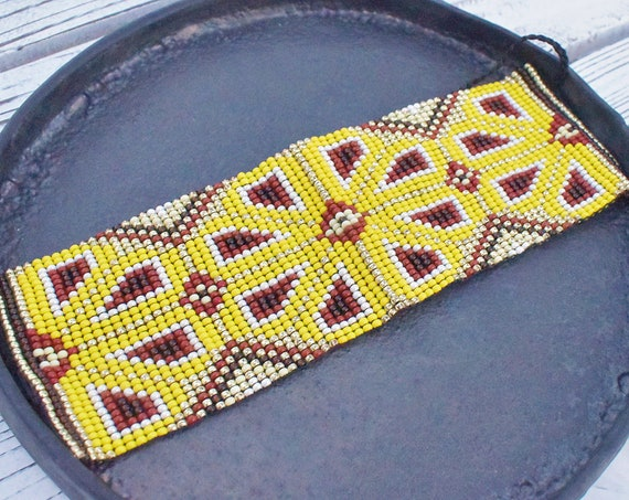 Cuff Bracelet, Beaded Native American Bracelet, Huichol Bracelet, Peyote, Good Luck Charm, Men's Bracelet, Unisex, Indigenous Made, Handmade