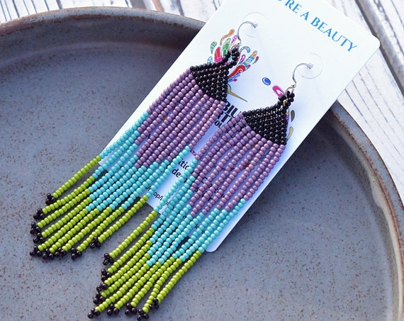 Contemporary Native American Beaded Earrings, Boho Earrings, Beaded Dangle Earrings, Boho Chic, Indigenous Made Earrings, Handmade, Biulu