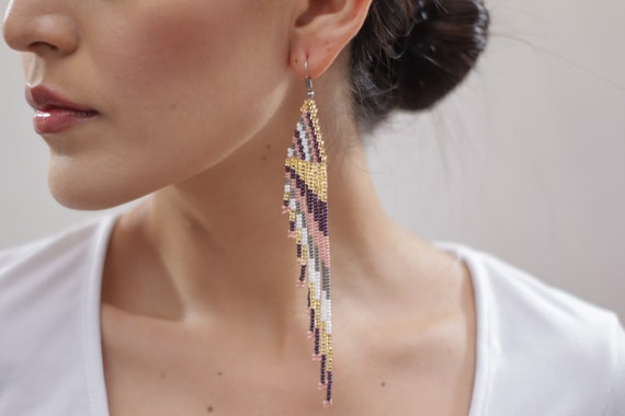 Beaded Boho Earrings, Feather Style, Native American Beaded Earrings, Handmade, Indigenous Made, Jewelry | Biulu Artisan Boutique