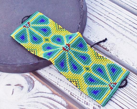 Boho Beaded Bracelet, Native American Beaded Bracelet, Huichol Bracelet, Peyote, Good Luck Charm, Bracelet For Men, Unisex, Handmade
