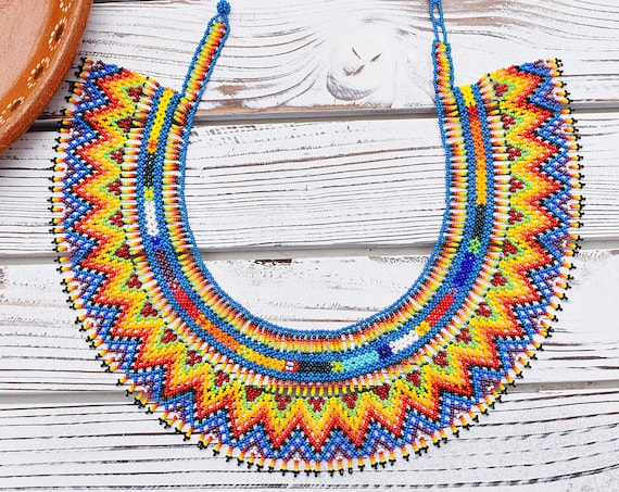 Boho Collar Necklace, Modern Geometric Necklace, Native American Beaded Necklace, Seed Bead, Statement, Colorful, Indigenous Made Jewelry