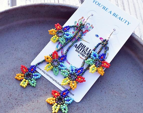 Boho Beaded Earrings, Flowers on a Vine Earrings, Dainty Colorful Earrings, Native American Beaded Earrings, Boho Chic, Seed Bead Earrings