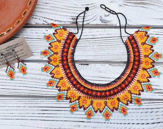 Boho Collar Necklace, Beaded Necklace, Huichol, Embera, Native American Necklace, Orange, Colorful, Statement Jewelry, Indigenous Made