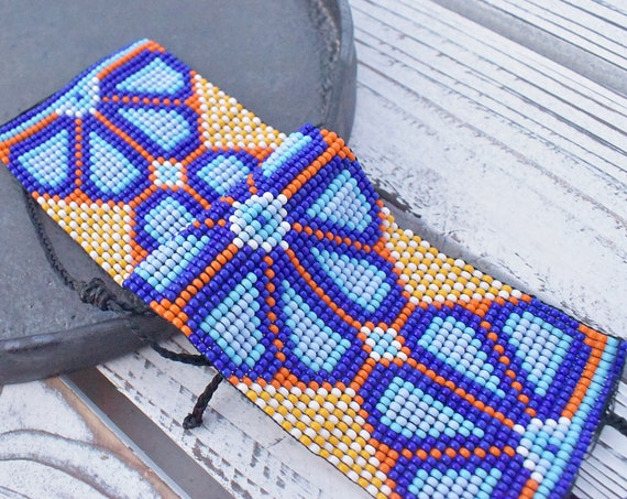 Boho Cuff Bracelet, Native American Beaded Bracelet, Huichol Bracelet, Peyote, Good Luck Charm, Men's Bracelet, Unisex, Indigenous Made