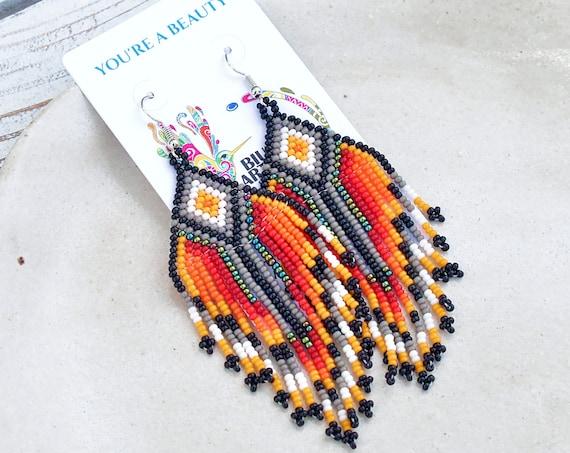 Boho Tribal Beaded Earrings, Indigenous Made, Handmade Jewelry, Native American Earrings, Boho Earrings, Etsy | Biulu Artisan Boutique
