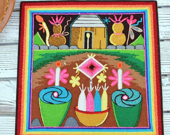 Village and Offerings Thread Painting, Bohemian Home Decor, Unique Ethnic Art, Indigenous Artwork, Colorful Wall Art, Special Gift Idea