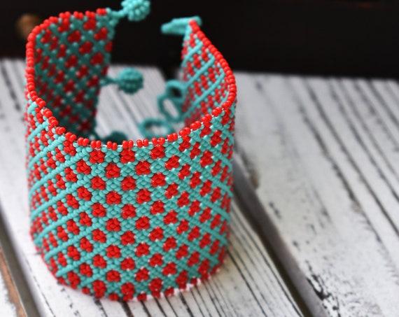 Chic Cuff Bracelet, Beaded Boho Bracelet, Turquoise, Red, Native Style Beaded Bracelet, Boho Chic Bracelet, Seed Bead Bracelet, Handmade