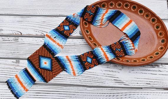 Boho Beaded Necklace, Ethnic Necklace, Geometric, Native American Beaded Jewelry, Ojo de Dios, Statement, Blue, Orange, Authentic Huichol