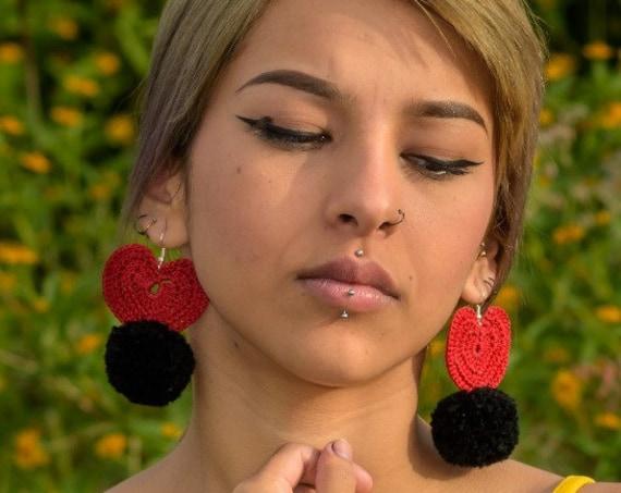 Boho Heart Earrings, Heart Macrame Earrings with Pom, Black Pom Pom Earrings, Lightweight, Boho Earrings, Boho Fashion, Boho Chic, Handmade