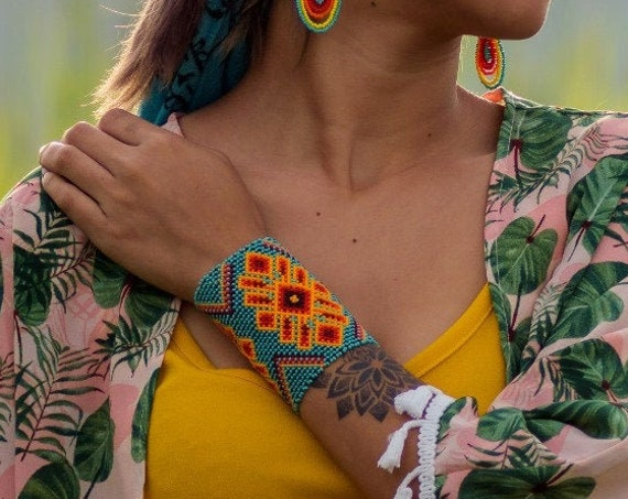 Boho Chic Beaded Bracelet, Turquoise Boho Cuff Bracelet, Turquoise Orange, Native American Beaded Bracelet, Large Cuff Bracelet, Handmade
