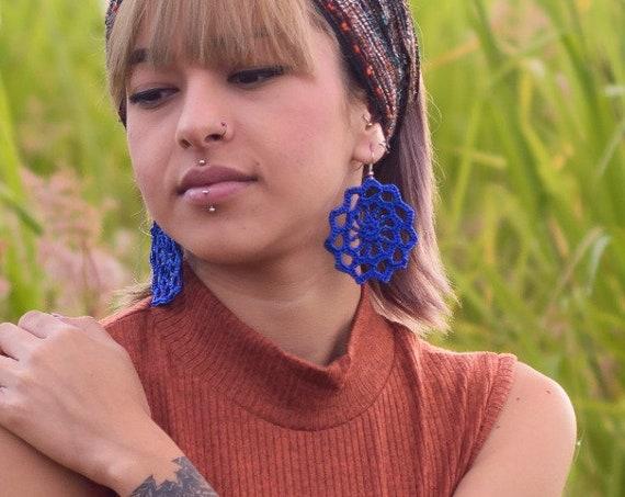 Blue Mandala Earrings, Macrame Boho Earrings, Blue Sun Earrings, Ultra Lightweight, Boho Chic, Statement Earrings | Biulu Artisan Boutique