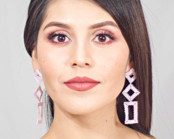 Light Pink Earrings, Modern Geometric Earrings, Native American Beaded Earrings, Abstract, Shapes, Boho Chic Earrings, Handmade