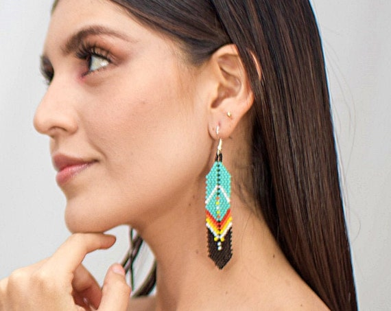 Beaded Feather Native American Style Earrings, Turquoise Feather Earrings, Boho Tribal Earrings, Authentic Huichol Beadwork, Mexican Beading