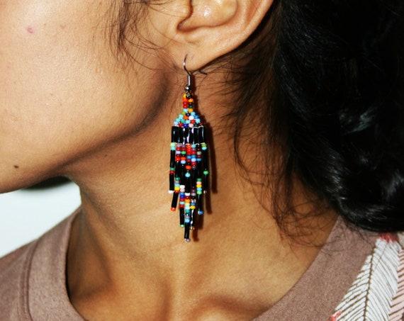 Small Galaxy Earrings, Dainty, Boho Casual, Tribal Accessories, Native American Handmade Jewelry, Huichol Beaded | Biulu Artisan Boutique