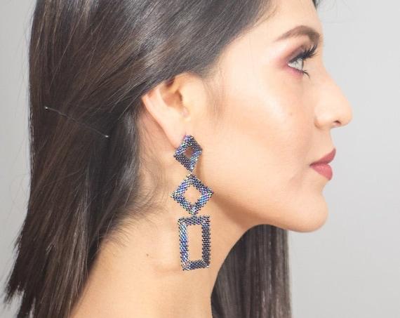 Modern Geometric Earrings, Beaded Boho Earrings, Abstract, Native Style Beaded Earrings, Long Dangle, Miyuki, Post Earrings, Handmade