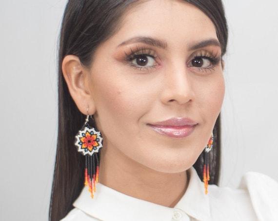 Star Earrings, Starburst Earrings, Beaded Stars, Native American Beaded Earrings, Cute Circles w/ Tassels   Biulu Artisan Boutique