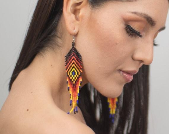 Boho Feather Style Earrings, Native American Beaded Earrings, Boho Chic, Vibrant Tribal Jewelry, Huichol, Seed Bead | Biulu Artisan Boutique