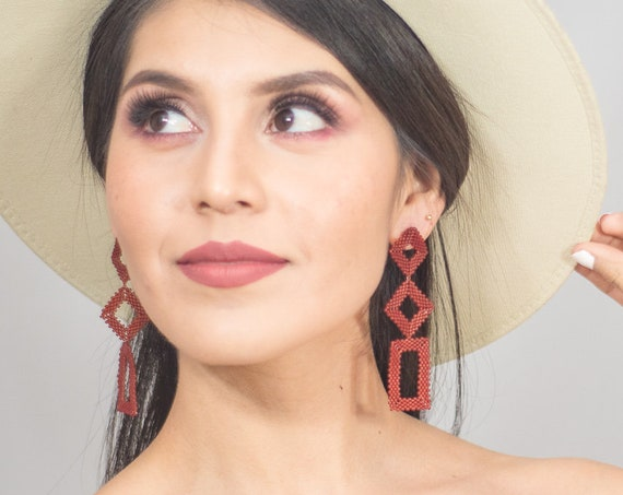 Beaded Geometric Earrings, Boho Earings, Matte Red, Modern, Native American Beaded Earrings, Post Earrings, Miyuki, Indigenous Made Earrings