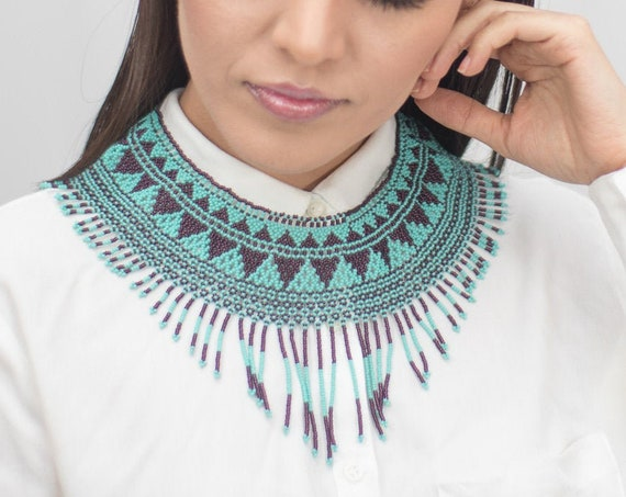 Beaded Collar Necklace, Modern Geometric Necklace, Native American Beaded Necklace, Turquoise, Purple, Statement, Indigenous Made Jewelry