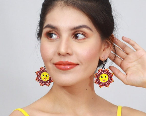 Boho Sun Earrings, Indigenous Made Earrings, Huichol Beaded Jewelry, Handmade Sun Jewelry, Native American Beaded Earrings, Authentic