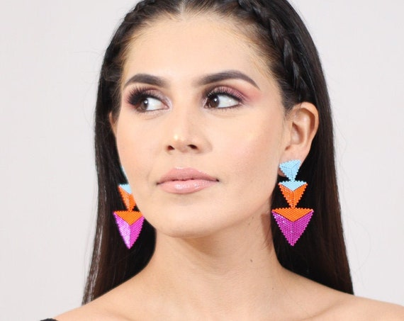 Abstract Geometric Earrings, Beaded Boho Earrings, Indigenous Made Earrings, Shapes, Colorful, Chic Boho Earrings, Post Earrings, Handmade