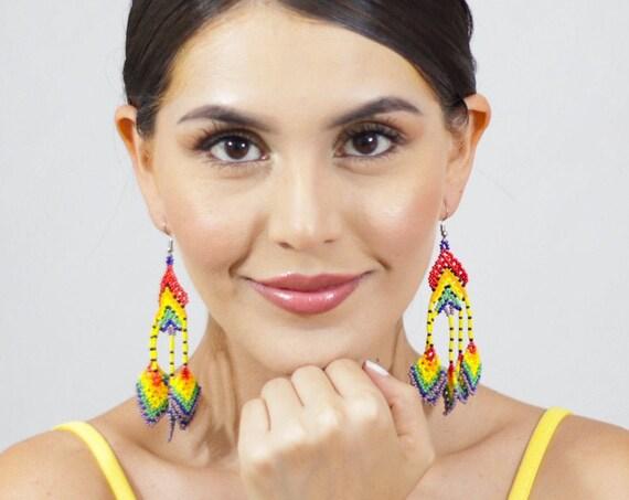 Unique Colorful Earrings, Beaded Boho Earrings, Indigenous Made, Jewelry, Rainbow Colored, Abstract Earrings | Biulu Artisan Botuique