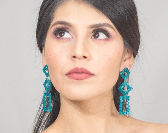 Beaded Geometric Earrings, Boho Earrings, Metallic Blue, Modern, Native American Beaded Earrings, Post Earrings, Indigenous Made Earrings