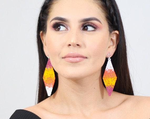 Beaded Boho Earrings, Splash Pattern, Native American Beaded Earrings, Orange, White, Post Earrings, Abstract Boho Chic Earrings, Handmade