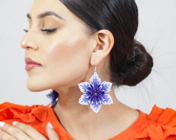 Blue Violet Earrings, Indigenous Made Jewelry, Flower Boho Earrings, Native American Beaded Earrings, Handmade Boho Jewelry