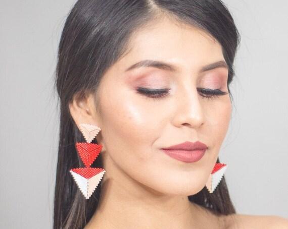 Geometric Chic Earrings, Miyuki, Boho Beaded Earrings, Modern Earrings, Boho Chic, Post Earrings, High Fashion Beadwork, Indigenous Made