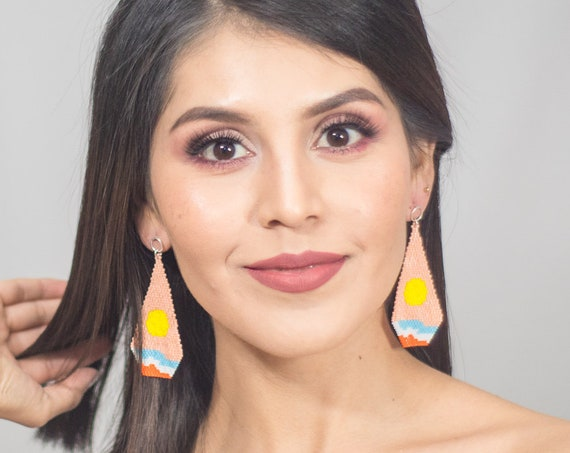 Sunrise Earrings, Beach Scene, Native Style Beaded Earrings, Boho Earrings with Posts, Miyuki Seed Beads, Handmade | Biulu Artisan Boutique