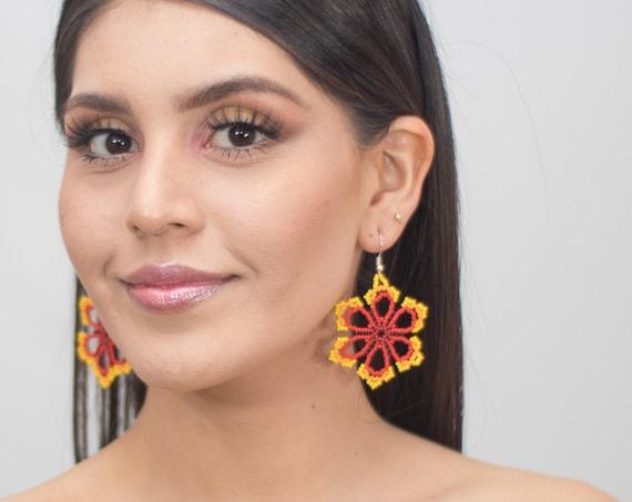 Beaded Star Earrings, Good Luck Huichol Earrings, Native American Beaded Earrings, Yellow, Red, Bright Round Earrings, Indigenous Made