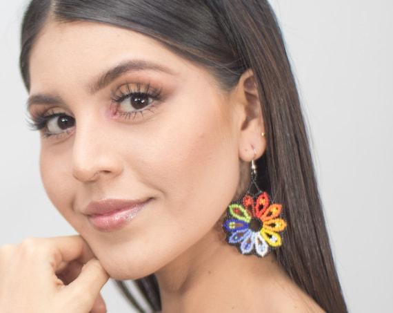 "Colorful Sun Earrings, Beaded Medallion Earrings, Native Style Beaded Earrings, 1.75"", Boho Earrings, Seed Bead Earrings, Indigenous Made"