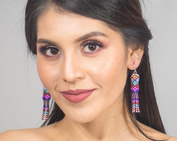 Boho Tube Earrings, Native Style Beaded Earrings, Beaded Tube Earrings, Dainty, Colorful, Seed Bead, Boho Earrings | Biulu Artisan Boutique