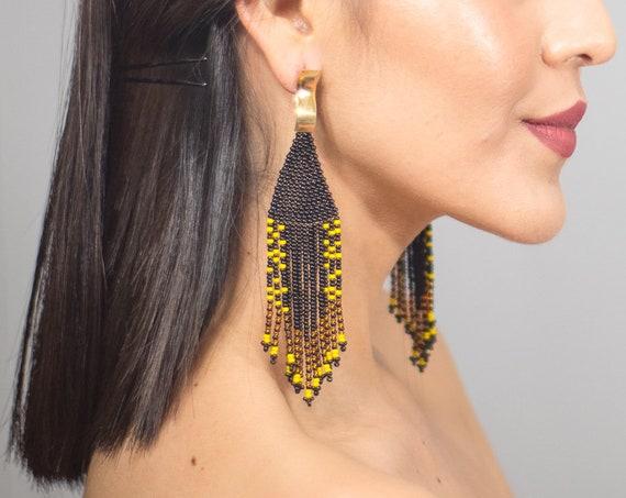 Beaded Boho Earrings, Native American Beaded Earrings, Contemporary, Modern Chic Earrings, Post Earrings, Handmade | Biulu Artisan Boutique