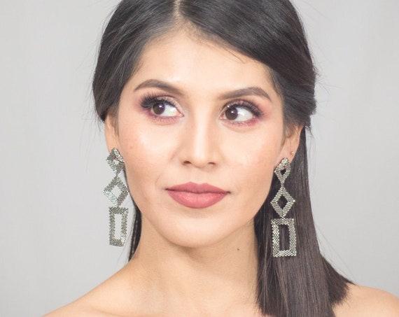 Beaded Silver Earrings, Modern Geometric Earrings, Native American Beaded Earrings, Abstract, Shapes, Boho Chic Earrings, Handmade