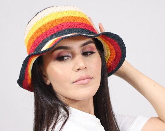 Colorful Boho Fedora, Chambira Brim Hat, Wicker Hat, Mens Womens Brim Fedora, Natural Fibers, Red Orange Yellow Black, Stylish Hat, Handmade