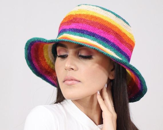 Colorful Boho Fedora, Chambira Brim Hat, Wicker Hat, Mens Womens Brim Fedora, Natural Fibers, Rainbow Colors, Vibrant Stylish Hat, Handmade