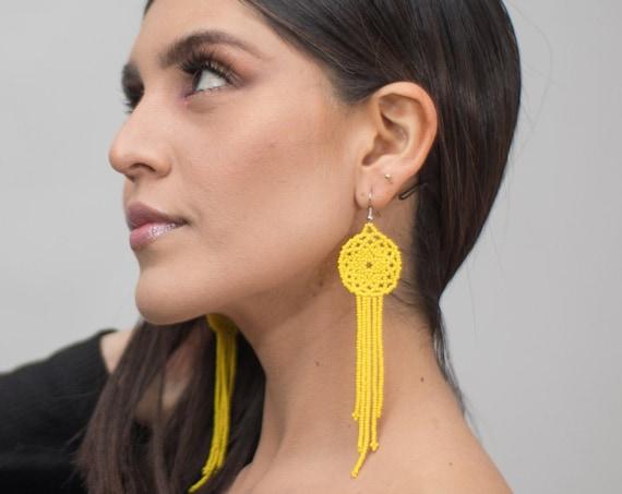 Boho Dreamcatcher Earrings, Yellow, Chandelier Earrings, Native American Beaded Earrings, Indigenous Made | Biulu Artisan Boutique