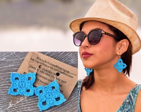 Ultra Lightweight Boho Earrings, Boho Turquoise Earrings, Macrame Earrings, Turquoise Statement Earrings, Unique, Geometric Earrings