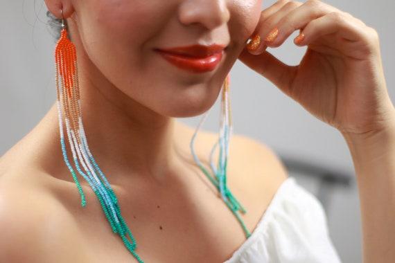 Boho Chandelier Earrings, Beaded Boho Earrings, Colorful Native Shoulder Duster Earrings, Indigenous Made Earrings, Handmade Earrings