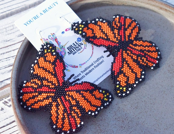 Large Butterfly Earrings, Contemporary Native Beaded Earrings, Boho Earrings, Boho Chic, Handmade Earrings, Indigenous Made Jewelry