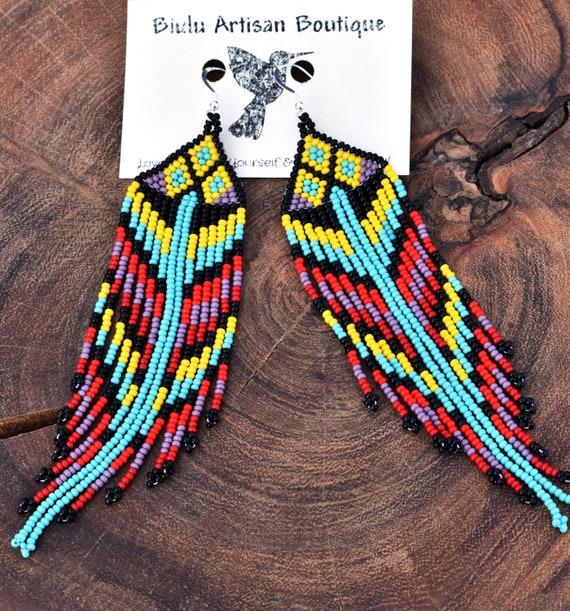 Native American Beaded Earrings, Long Tribal Boho Earrings, Blue Yellow Long Dangles, Statement Earrings   Biulu Artisan Boutique